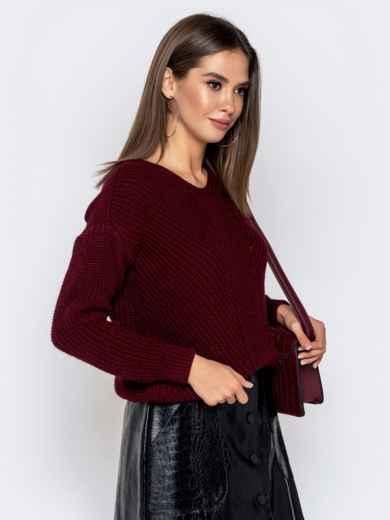 Бордовый свитер крупной вязки 41147, фото 2