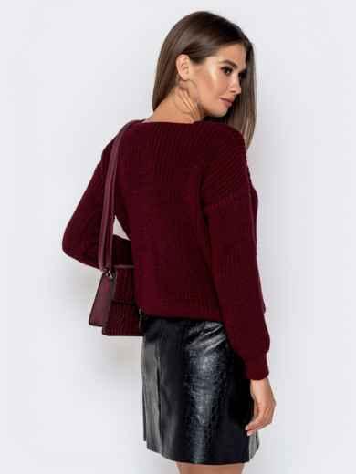 Бордовый свитер крупной вязки 41147, фото 3