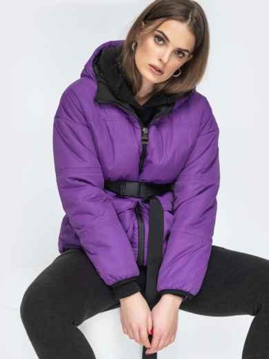 Фиолетовая куртка с капюшоном и объемными карманами 45256, фото 1