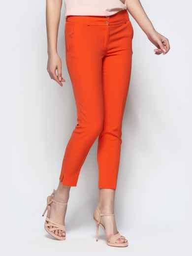 Укороченные брюки-дудочки оранжевого цвета с карманами 21869, фото 2