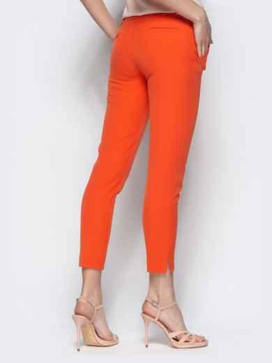 Укороченные брюки-дудочки оранжевого цвета с карманами 21869, фото 3