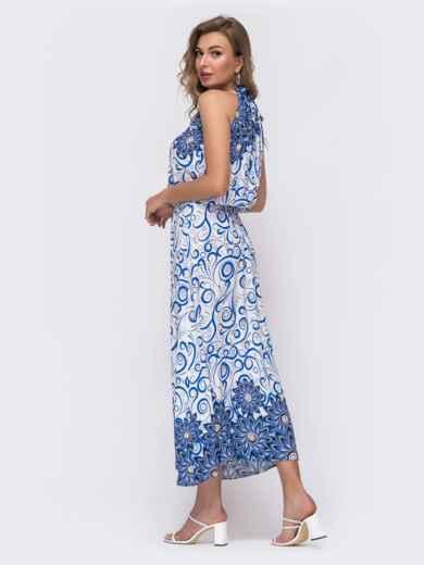 Длинное платье с принтом и резинкой по талии синее 48151, фото 2