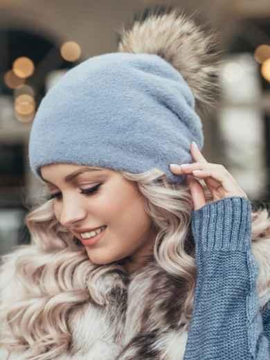 Голубая шапка с помпоном и флисовой подкладкой 51108, фото 1