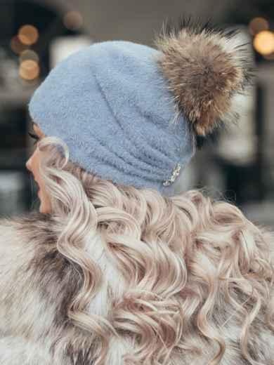 Голубая шапка с помпоном и флисовой подкладкой 51108, фото 2