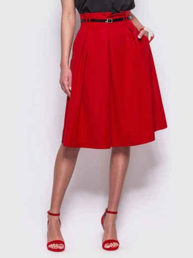 Красная расклешенная юбка с карманами по бокам 38368, фото 1