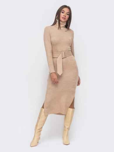 Платье-гольф бежевого цвета из мягкой ангоры 51137, фото 1