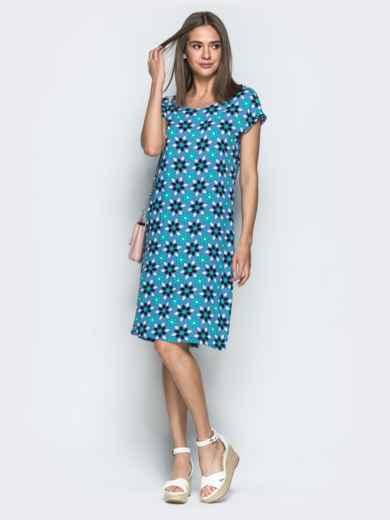 Принтованное платье свободного кроя синее 39477, фото 1