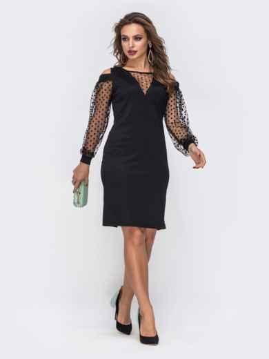 Приталенное платье с открытыми плечами и фатиновыми рукавами в горох чёрное 43066, фото 1