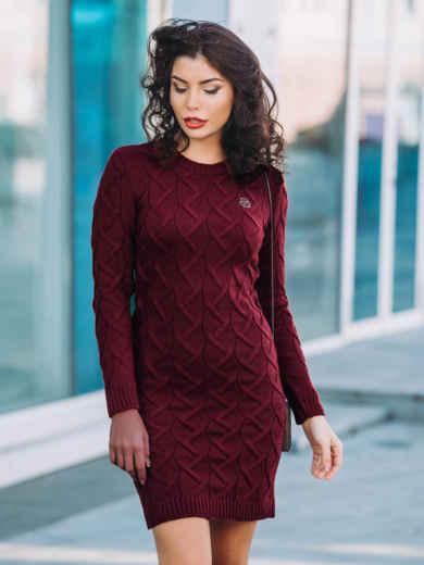Вязаное платье бордового цвета со съемной брошью 24846, фото 1