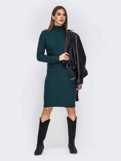 Вязаное платье-миди с косами тёмно-зелёное 42154, фото 1