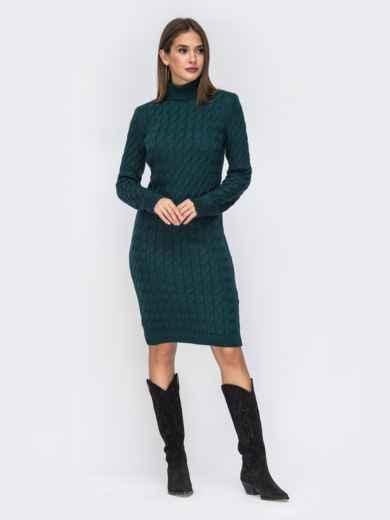Вязаное платье-миди с косами тёмно-зелёное 42154, фото 2