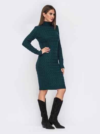 Вязаное платье-миди с косами тёмно-зелёное 42154, фото 3