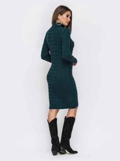 Вязаное платье-миди с косами тёмно-зелёное 42154, фото 4