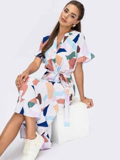 Платье из софта с принтом на пуговицах белое 53695, фото 1