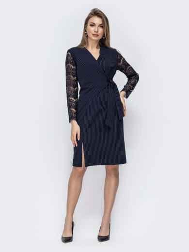 Платье в полоску с ажурными рукавами 45769, фото 1