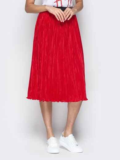 Плиссированая юбка-миди на резинке красная 21047, фото 1