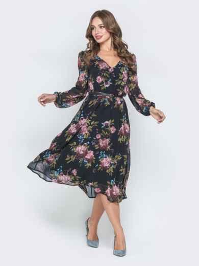 Шифоновое платье с растительным принтом чёрное 40589, фото 1