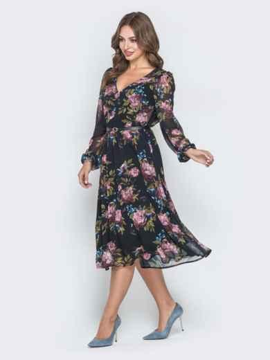 Шифоновое платье с растительным принтом чёрное 40589, фото 2