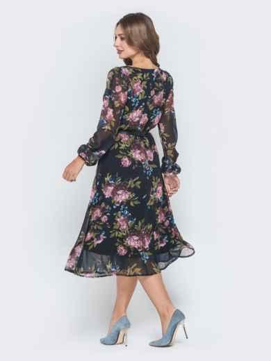 Шифоновое платье с растительным принтом чёрное 40589, фото 3
