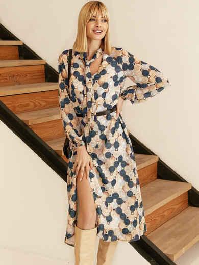 Бежевое платье из шифона с принтом и воротником-аскот 53053, фото 2