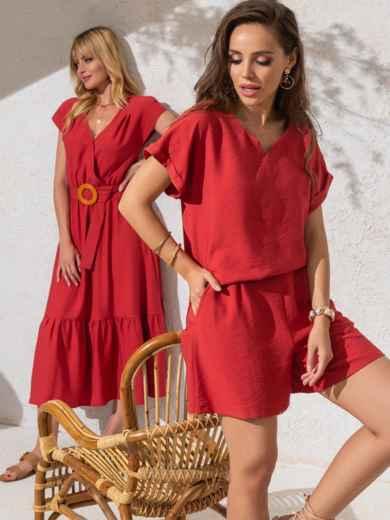 Костюм кораллового цвета из свободной блузки и шорт 49138, фото 1