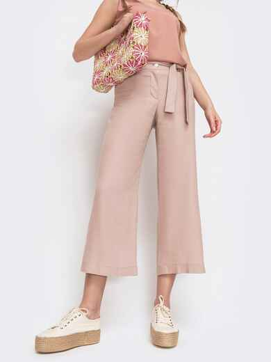Льняные брюки-кюлоты на молнии цвета пудра 46796, фото 1