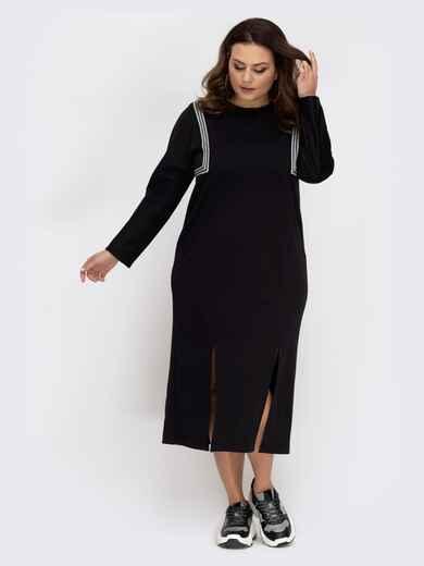 Платье чёрного цвета с контрастными вставками и разрезами 41997, фото 1