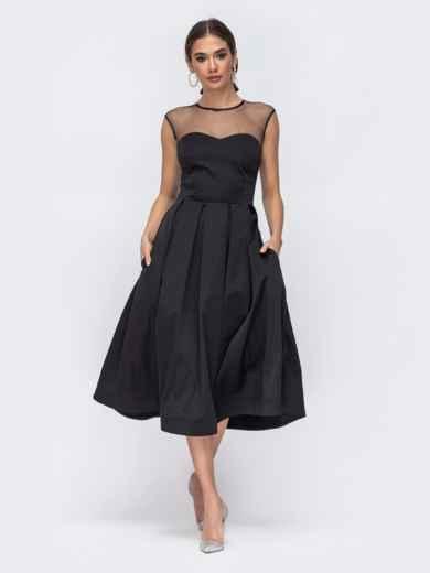 Приталенное платье из атласа и кокеткой из сетки чёрное 43017, фото 1