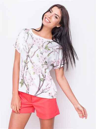 Принтованная блузка из креп-шёлка 13065, фото 1
