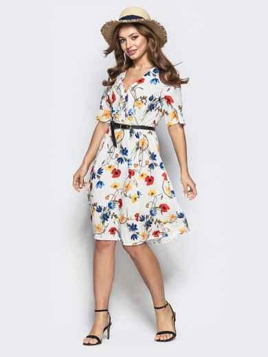 Приталенное платье с цветочным принтом и пуговицами по лифу 21635, фото 1