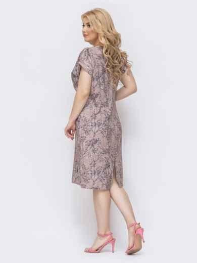 Бежевое платье батал приталенного кроя с принтом 46371, фото 2