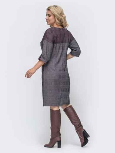 Бордовое платье батал прямого кроя в клетку 50778, фото 2