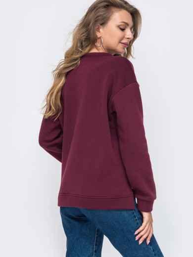 Бордовый свитшот с авторской вышивкой 50949, фото 2