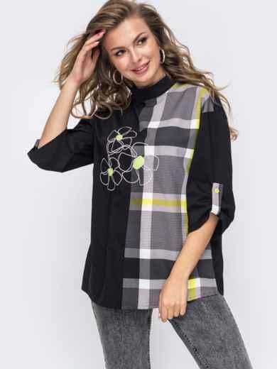 Черная рубашка с воротником-стойка 50948, фото 1