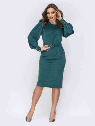 Платье-футляр из вельвета тёмно-зелёное 44202, фото 1