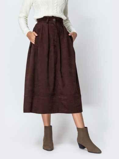 Расклешенная юбка из вельвета коричневого цвета 42386, фото 1
