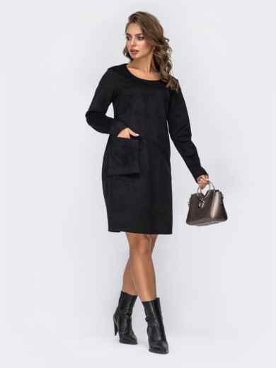 Замшевое платье с навесным карманом на полочке чёрное 42390, фото 1