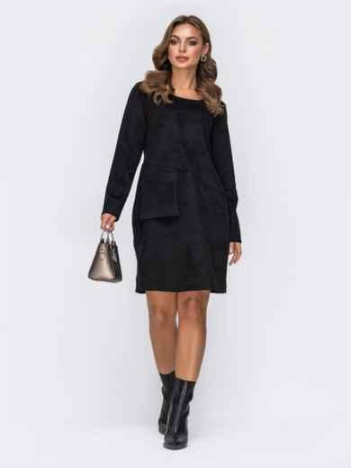 Замшевое платье с навесным карманом на полочке чёрное 42390, фото 2