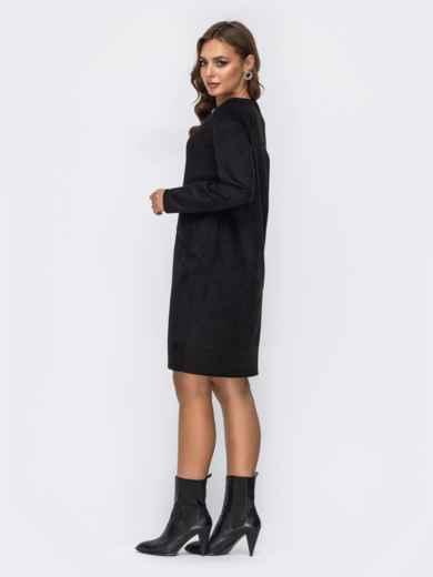 Замшевое платье с навесным карманом на полочке чёрное 42390, фото 3