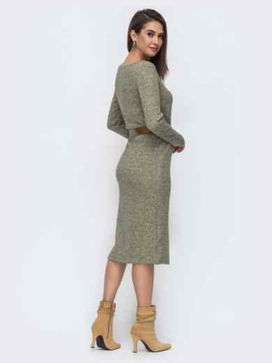 Зелёное платье-миди из ангоры 44906, фото 2