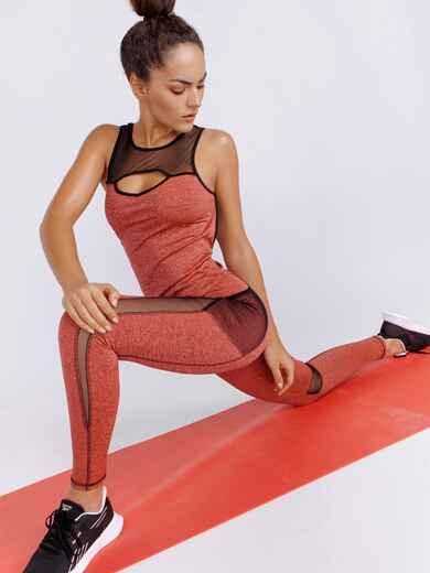 Комплект для фитнеса кораллового цвета из топа и лосин 44708, фото 1
