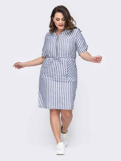 Платье батал в голубую полоску на молнии - 46095, фото 1 – интернет-магазин Dressa
