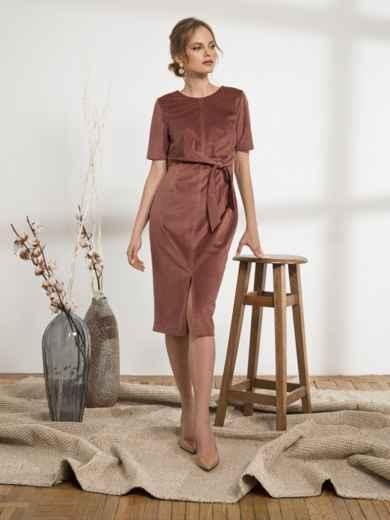 Платье приталенного кроя из вельвета с разрезом розовое 44189, фото 1
