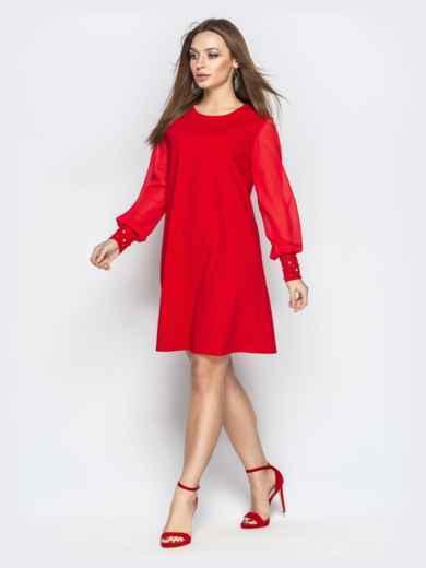Красное платье с шифоновыми рукавами и жемчужинами на манжетах 20609, фото 2