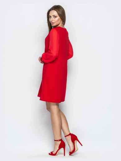 Красное платье с шифоновыми рукавами и жемчужинами на манжетах 20609, фото 3