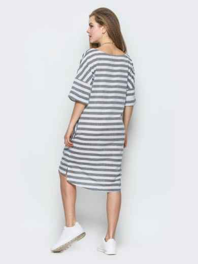Серое платье-футболка в полоску свободного кроя 21769, фото 2