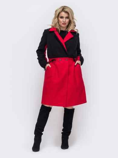 Пальто большого размера с кулиской по талии красное 50883, фото 1