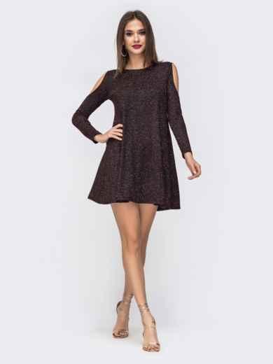 Платье из люрекса с открытыми плечами бордовое 42862, фото 1