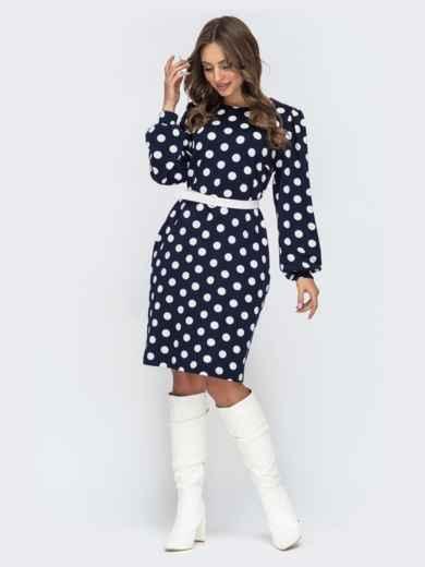 Прямое платье тёмно-синего цвета в горох с объемным рукавом 45056, фото 1