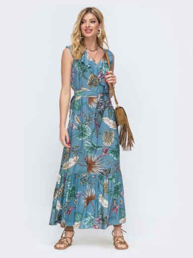 Длинное платье в полоску с оборкой по низу голубое 46862, фото 1